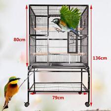 Neuf perroquet Cage voliere a oiseaux ancienne en fer metal carré 79x48x136CM