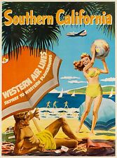 Southern California Western Airlines United States Travel Advertisement Poster 2