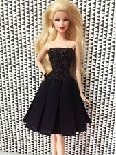 Vintage Classical Little Black Evening Dress outfit clothes For Barbie Doll 007
