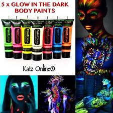 5 x brillano al buio NEON viso & corpo pittura 10ml Set FLUORESCENTI HALLOWEEN FESTA
