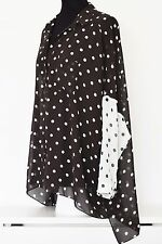 WOMANS CASUAL LOOSE CHIFFON SHIRT BLOUSE IN LARGE POLKA DOT PRINT, SZ 10