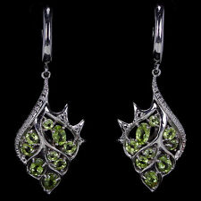Natural GREEN PERIDOT MIXED SHAPE .925 STERLING SILVER EARRINGS