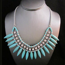 NEW Brighton Bay Turquoise Tooth Bead Rhinestone Gemmed Necklace