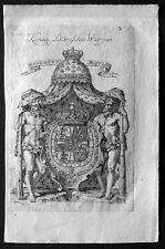 1735 Weigel Antique Heraldry Print Royal Family of Denmark