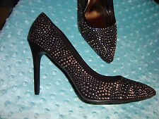 "NIB SEXY 4"" SPIKED HIGH HEELS BLACK METALLIC STUDS PUMPS HOT STILETTOS 9w wide"