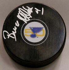 BRUCE AFFLECK SIGNED ST LOUIS BLUES 50TH ANNIVERSARY HOCKEY PUCK 1008371