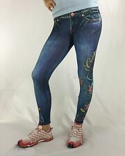 Bejeweled Leggings Jeggings Susan Fixel Jeans Roses Couture XS