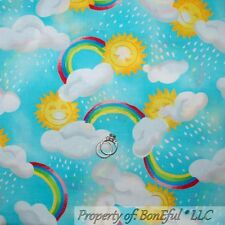 BonEful Fabric FQ Cotton Quilt Blue Yellow Sun*Shine Rainbow Cloud Sky Noah Ark