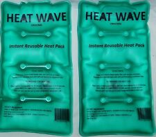 2 New HEAT WAVE Instant Reusable Heat Packs - Medium Pack- 5x9 inch- made in US
