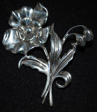 Vintage Danecraft Heavy Sterling Silver Flower Pin With Flower Buds & Leaves