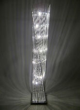 Cayan Tower Twisted Silver Metal Wire Floor Standard Standing LED Lamp Glamour