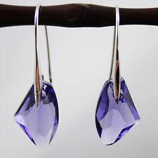 Dark Amthet Purple Crystal 6656 19mm Diamond 925 Sterling Silver Earrings UK