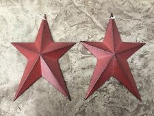 "Set of 2 ) WHIMSICAL BURGUNDY BLACK BARN STARS 8"" PRIMITIVE RUSTIC COUNTRY DECOR"