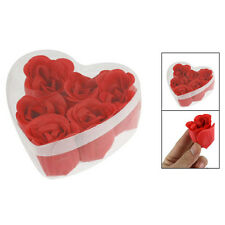 Gift Xmas 6Pcs Red 3x4cm 1.2x1.6 Scented Bath Soap Rose Petal in Heart Shape Box