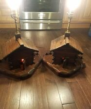 2 Vintage CABIN  River Mill Wood Table Lamps