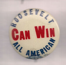1912 Bull Moose Progressive Party (Teddy) Roosevelt All American Can Win Pin