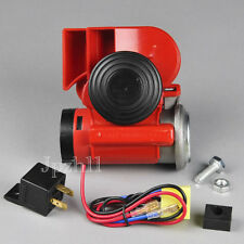 Motorcycle/Car 12V Snail Compact Dual Tone Electric Pump Siren Loud Air Horn Red