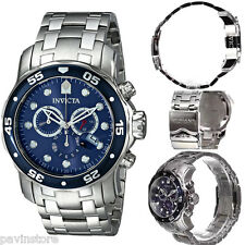 Invicta Pro Diver Mens Swiss Watch Chronograph Scuba Silver Blue Steel Dial New