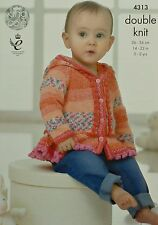 KNITTING PATTERN Baby's Long Sleeve Hooded Frilled Jacket DK King Cole 4313