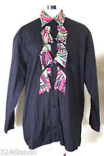 Vintage MOSCHINO Misura Black Pink Colorful Longsleeve Shirt Blouse Top S 5 6 7