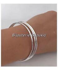 Bracelets Lot Triple Joncs - Argent Massif 925/1000 - 6,2 cm - Bijoux Femme