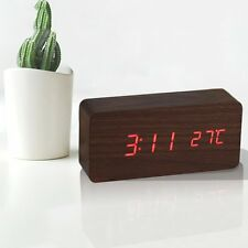 Home Wooden Clock Digital LED Alarm Calendar Thermometer Sound Control Date BG