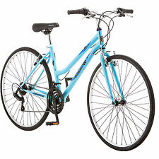 700c Women's Hybrid Bike, Roadmaster Adventures Light Blue Bicycle 18-speed