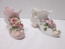 Lefton China Shoe Figurines White and Pink