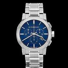 Swiss Made Burberry Chronograph Blue Dial Stainless Steel Men's Watch BU9363