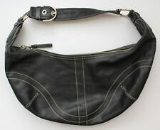 AUTHENTIC COACH Black Soho Hobo Purse With White Top Stitch, GREAT condition