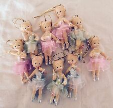 "Lot of 9 Ballerina Christmas Ornaments 3 1/2""  Resin Pink Green & Blue Tutus"