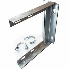 "9"" x 9"" TV Aerial Wall Mounting Bracket & V Bolts Galvanized -Pole/Mast Install"