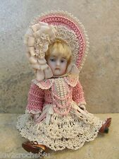 """VICTORIAN STYLE CROCHETED DRESS SET FOR A 5"""" ALL BISQUE DOLL*by Tina"""