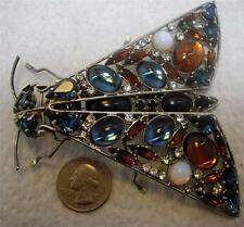 THE BEST XXL Hand Made Glass Cabochon JEWELED FLY INSECT BUG Pin Brooch SUPER!