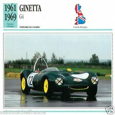 GINETTA G4 1961 1969 CAR VOITURE Great Britain GRANDE BRETAGNE CARTE CARD FICHE