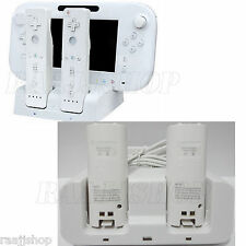 WHITE CHARGER DOCKING STATION +2x BATTERY PACK FOR WII & WII U REMOTE GAMEPAD