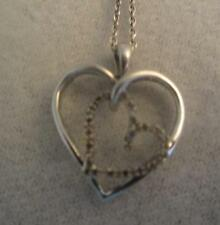 "JWBR STERLING DOUBLE HEART PENDANT - 1 DIAMOND SET & 18"" CHAIN NECKLACE"