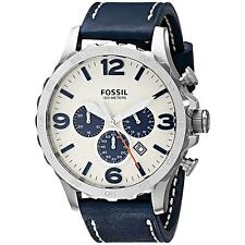 FOSSIL MEN'S 50MM BLUE CALFSKIN BAND STEEL CASE QUARTZ WHITE DIAL WATCH JR1480