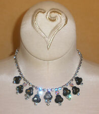 Beautiful D&E Juliana Necklace in Rare Shaped Black Diamond Rhinestones & ABs