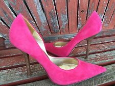 *PerFect PiNk* Suede Sz 10 LEATHER Pointy Toe Stiletto Heel PUMPS CARRIE GuESS
