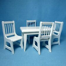 Dollhouse Miniature Kitchen / Dining Room Table with Chairs - White  RB0021