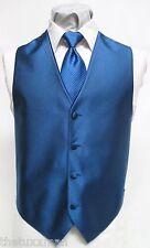 BM Boys Medium Jean Yves Royal Blue Tuxedo Vest & Striped Long Tie Ring Bearer