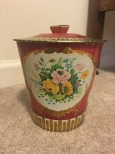 VINTAGE TIN FLORAL MADE IN ENGLAND DAHER UNIQUE DESIGN