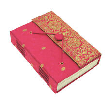 Fair Trade Handmade Cerise Medium Sari Fabric Journal Notebook Diary, Eco Paper