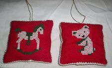 Mini CROSS STITCH PILLOW ORNAMENT LOT 2 ROCKING HORSE TEDDY BEAR Dollhouse 3""