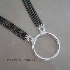 Unisex gunmetal silver reading eyeglass chain holder necklace loop