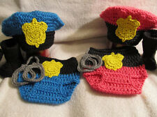 Crochet Police Officer Set - Baby Photo Prop (Hat, Diaper Cover w/Cuffs, Boots)