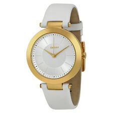 DKNY Silver Sunray Dial White Leather Ladies Watch NY2295