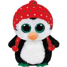 "Ty Christmas Beanie Boo's Medium 13"" Freeze the Penguin Plush"