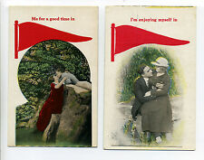 Lot of 2 Pennant Postcards, romantic theme, pre 1930, Bamforth Lovers series